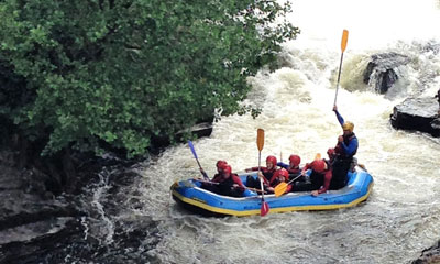 White water rafting near Llangollen