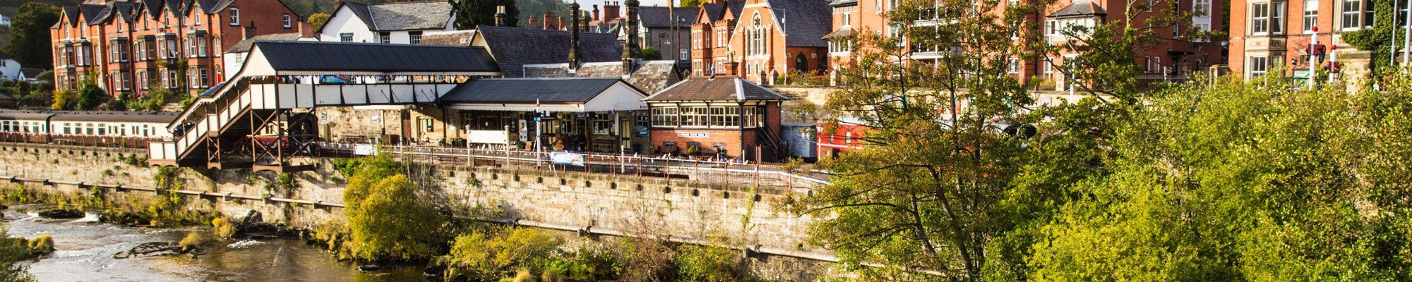 River and train station in Llangollen, North Wales