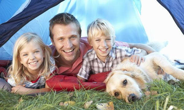 Family and dog camping